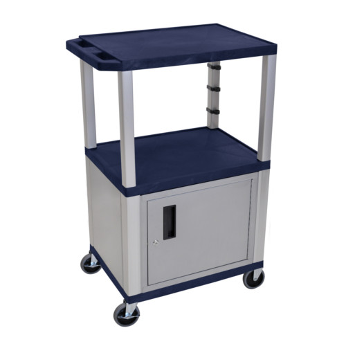 "H. Wilson Tuffy Navy Blue 42"" High Tuffy Utility A/V Cart with Cabinet (3-Shelf Nickel Legs) (WT42ZC4E-N) Image 1"