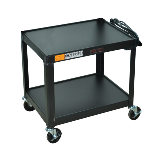 "H. Wilson .Wilson 26"" High Black 2-Shelf Steel Utility A/V Cart (W26E) Image 1"