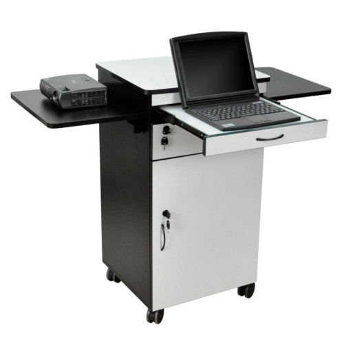 H. Wilson Wood Multimedia Workstation Cart (WPSDD3) Image 1