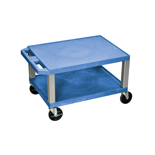 "H. Wilson Blue 16"" High Tuffy Utility A/V Cart (2-Shelf Nickel Legs) (WT16BUE-N) - $93.3 Image 1"