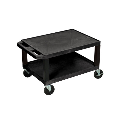 "H. Wilson Black 16"" High Tuffy Utility A/V Cart (2-Shelf Black Legs) (WT16E) Image 1"