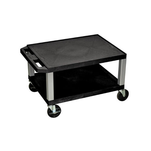"H. Wilson Black 16"" High Tuffy Utility A/V Cart (2-Shelf Nickel Legs) (WT16E-N) Image 1"