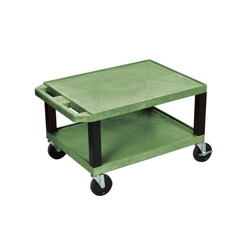 "H. Wilson Green 16"" High Tuffy Utility A/V Cart (2-Shelf Black Legs) (WT16GE-B) Image 1"
