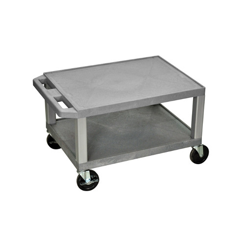 "H. Wilson Gray 16"" High Tuffy Utility A/V Cart (2-Shelf Nickel Legs) (WT16GYE-N) Image 1"