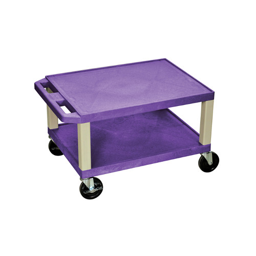 "H. Wilson Purple 16"" High Tuffy Utility A/V Cart (2-Shelf Putty Legs) (WT16PE) Image 1"