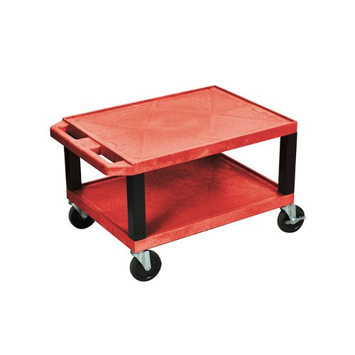 "H. Wilson Red 16"" High Tuffy Utility A/V Cart (2-Shelf Black Legs) (WT16RE-B) Image 1"