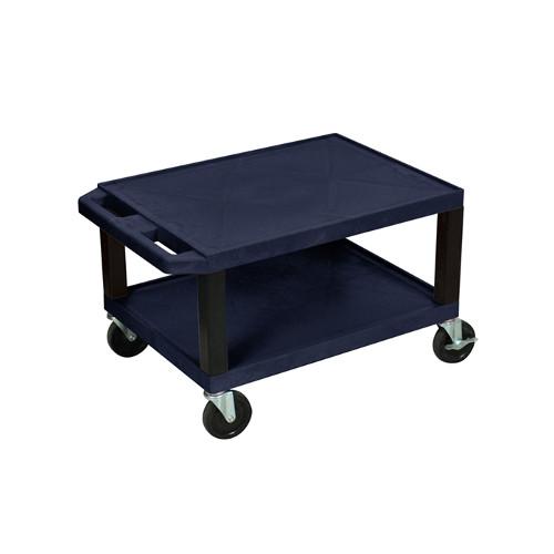 "H. Wilson Navy Blue 16"" High Tuffy Utility A/V Cart (2-Shelf Black Legs) (WT16ZE-B), H. Wilson brand Image 1"