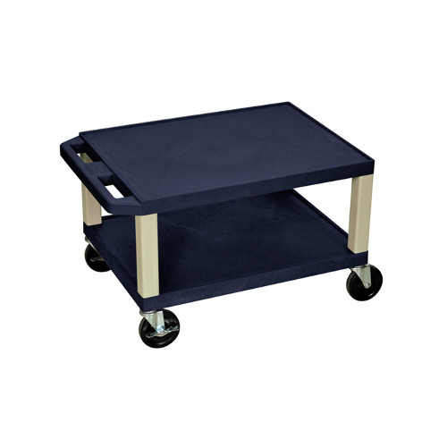 "H. Wilson Navy Blue 16"" High Tuffy Utility A/V Cart (2-Shelf Putty Legs) (WT16ZE) Image 1"