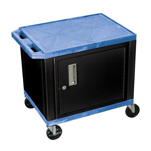 "H. Wilson Blue 24.5"" High Tuffy Utility A/V Cart with Cabinet (2-Shelf Black Legs) (WT26BUC2E-B) Image 1"