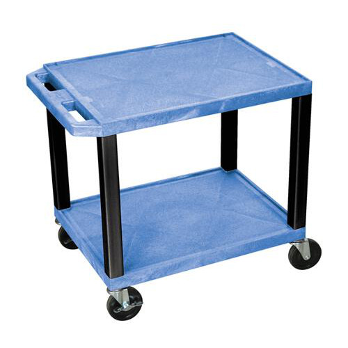 "H. Wilson Blue 24.5"" High Tuffy Utility A/V Cart (2-Shelf Black Legs) (WT26BUE-B) Image 1"
