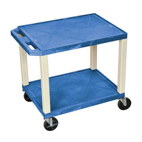 """H. Wilson Blue 24.5"""" High Tuffy Utility A/V Cart (2-Shelf Putty Legs) (WT26BUE) Image 1"""