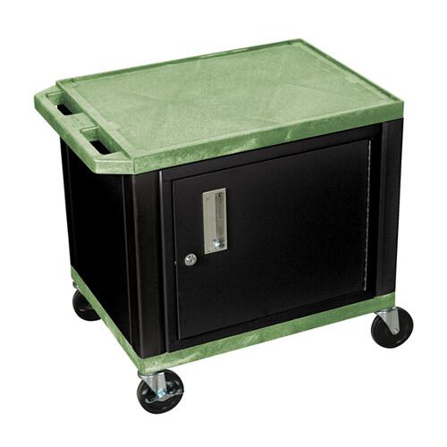 "H. Wilson Green 24.5"" High Tuffy Utility A/V Cart with Cabinet (2-Shelf Black Legs) (WT26GC2E-B) - $153.09 Image 1"