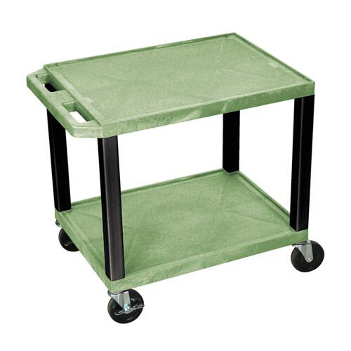 "H. Wilson Green 24.5"" High Tuffy Utility A/V Cart (2-Shelf Black Legs) (WT26GE-B) - $97.41 Image 1"