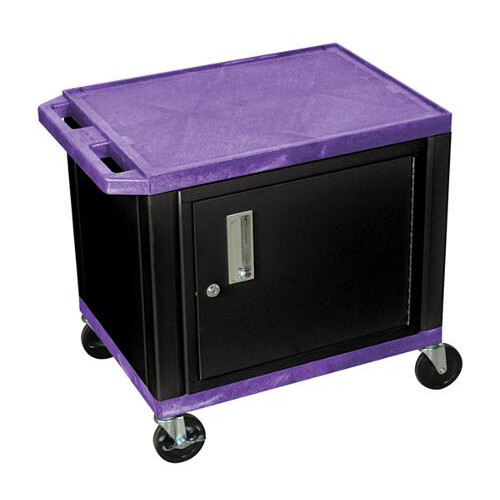 "H. Wilson Purple 24.5"" High Tuffy Utility A/V Cart with Cabinet (2-Shelf Black Legs) (WT26PC2E-B), H. Wilson brand Image 1"
