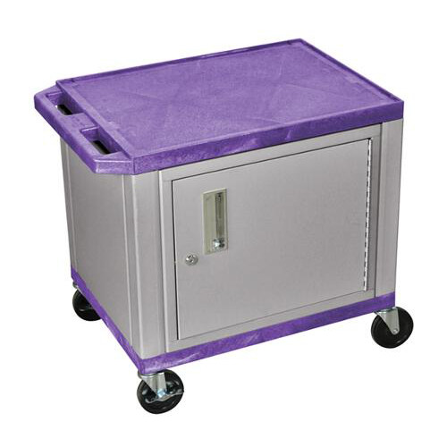 "H. Wilson Purple 24.5"" High Tuffy Utility A/V Cart with Cabinet (2-Shelf Nickel Legs) (WT26PC4E-N), H. Wilson brand Image 1"