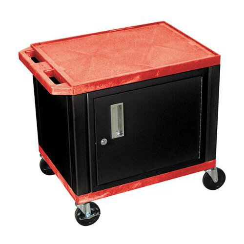 "H. Wilson Red 24.5"" High Tuffy Utility A/V Cart with Cabinet (2-Shelf Black Legs) (WT26RC2E-B) Image 1"