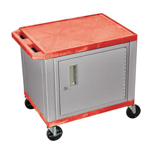 "H. Wilson Red 24.5"" High Tuffy Utility A/V Cart with Cabinet (2-Shelf Nickel Legs) (WT26RC4E-N) Image 1"