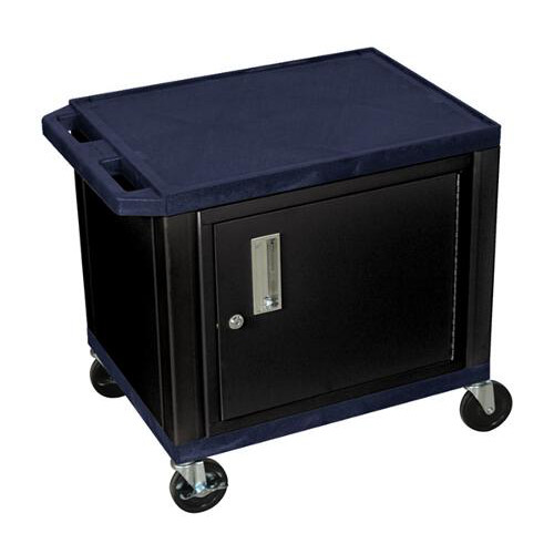 "H. Wilson Navy Blue 24.5"" High Tuffy Utility A/V Cart with Cabinet (2-Shelf Black Legs) (WT26ZC2E-B) Image 1"