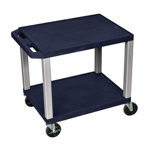 "H. Wilson Navy Blue 24.5"" High Tuffy Utility A/V Cart (2-Shelf Nickel Legs) (WT26ZE-N) Image 1"