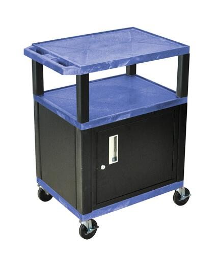 "H. Wilson Blue 34"" High Tuffy Utility A/V Cart with Cabinet (3-Shelf Black Legs) (WT34BUC2E-B), Boards Image 1"