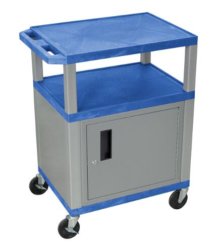 "H. Wilson Blue 34"" High Tuffy Utility A/V Cart with Cabinet (3-Shelf Nickel Legs) (WT34BUC4E-N), Boards Image 1"