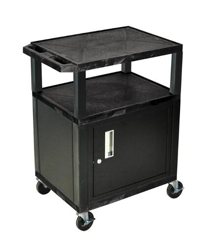 "H. Wilson Black 34"" High Tuffy Utility A/V Cart with Cabinet (3-Shelf Black Legs) (WT34C2E), Boards Image 1"