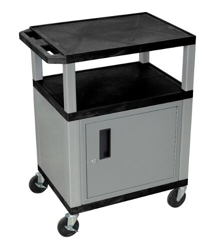 "H. Wilson Black 34"" High Tuffy Utility A/V Cart with Cabinet (3-Shelf Nickel Legs) (WT34C4E-N), Boards Image 1"