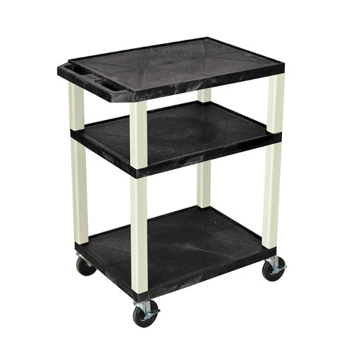 "H. Wilson Black 34"" High Tuffy Utility A/V Cart (3-Shelf Putty Legs) (WT34E-P) - $95.07 Image 1"