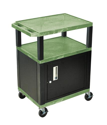 "H. Wilson Green 34"" High Tuffy Utility A/V Cart with Cabinet (3-Shelf Black Legs) (WT34GC2E-B) - $195.1 Image 1"