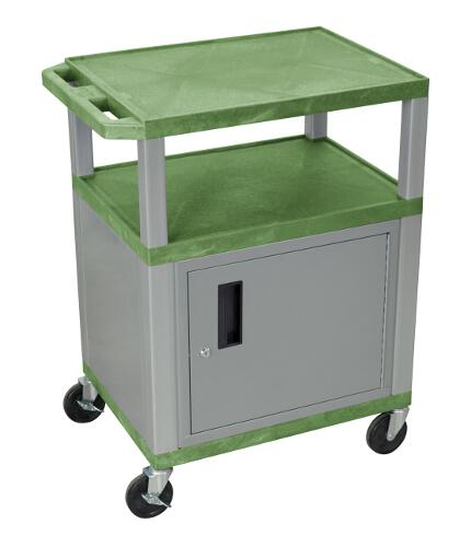 "H. Wilson Green 34"" High Tuffy Utility A/V Cart with Cabinet (3-Shelf Nickel Legs) (WT34GC4E-N), Boards Image 1"