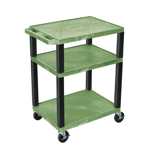 "H. Wilson Green 34"" High Tuffy Utility A/V Cart (3-Shelf Black Legs) (WT34GE-B), Boards Image 1"