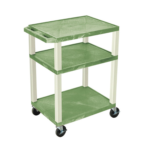 "H. Wilson Green 34"" High Tuffy Utility A/V Cart (3-Shelf Putty Legs) (WT34GE) Image 1"