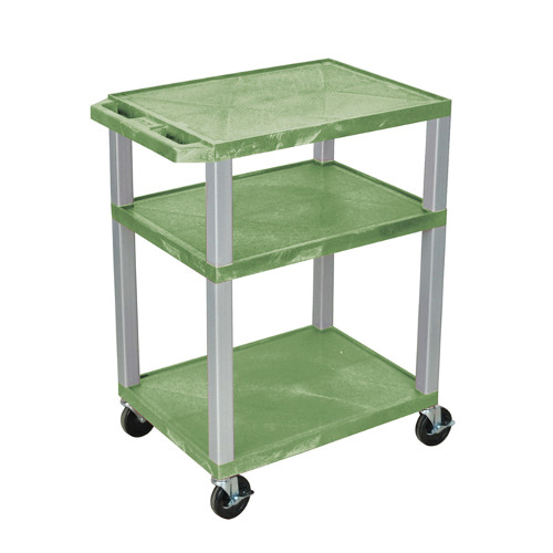 "H. Wilson Green 34"" High Tuffy Utility A/V Cart (3-Shelf Nickel Legs) (WT34GE-N), Boards Image 1"