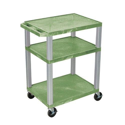 "H. Wilson Green 34"" High Tuffy Utility A/V Cart (3-Shelf Nickel Legs) (WT34GE-N) Image 1"