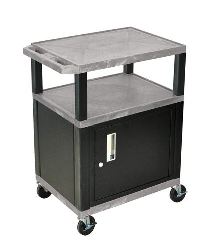 "H. Wilson Gray 34"" High Tuffy Utility A/V Cart with Cabinet (3-Shelf Black Legs) (WT34GYC2E-B) Image 1"