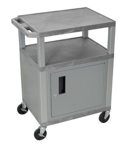 "H. Wilson Gray 34"" High Tuffy Utility A/V Cart with Cabinet (3-Shelf Nickel Legs) (WT34GYC4E-N), Boards Image 1"