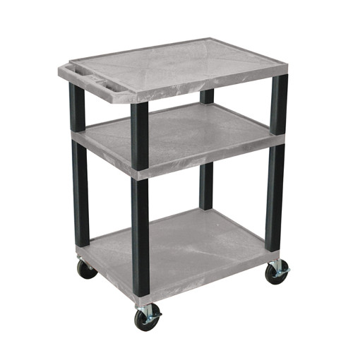 "H. Wilson Gray 34"" High Tuffy Utility A/V Cart (3-Shelf Black Legs) (WT34GYE-B), Boards Image 1"