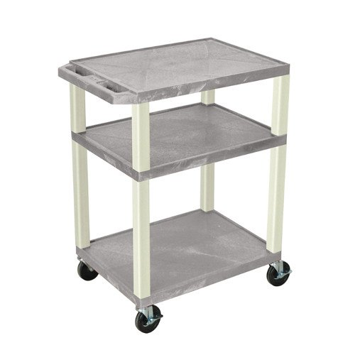 "H. Wilson Gray 34"" High Tuffy Utility A/V Cart (3-Shelf Putty Legs) (WT34GYE), Boards Image 1"