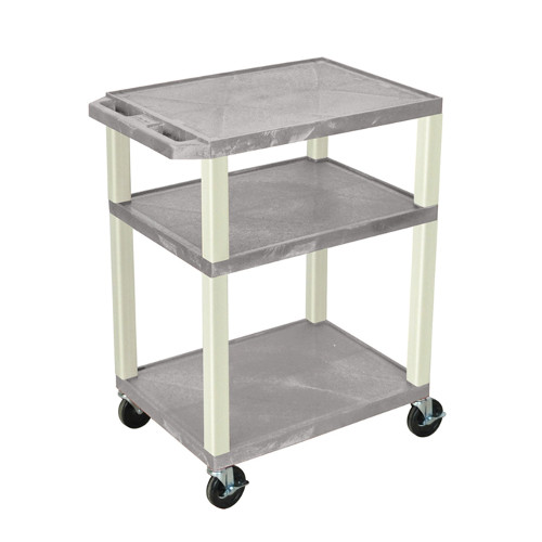 "H. Wilson Gray 34"" High Tuffy Utility A/V Cart (3-Shelf Putty Legs) (WT34GYE) - $129.58 Image 1"