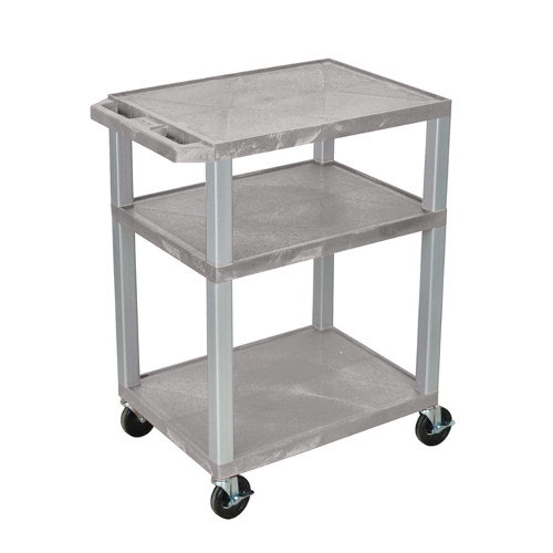 "H. Wilson Gray 34"" High Tuffy Utility A/V Cart (3-Shelf Nickel Legs) (WT34GYE-N), Boards Image 1"