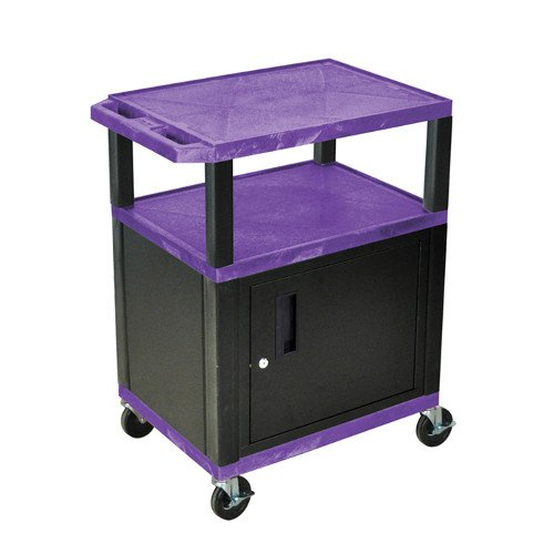 "H. Wilson Purple 34"" High Tuffy Utility A/V Cart with Cabinet (3-Shelf Black Legs) (WT34PC2E-B), Boards Image 1"