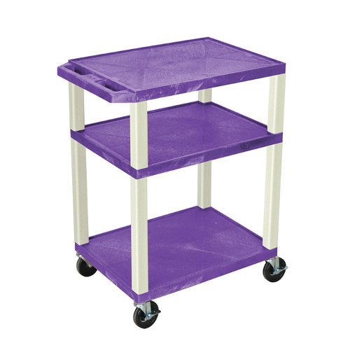 "H. Wilson Purple 34"" High Tuffy Utility A/V Cart (3-Shelf Putty Legs) (WT34PE) Image 1"