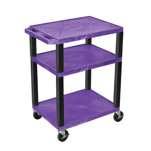 "H. Wilson Purple 34"" High Tuffy Utility A/V Cart (3-Shelf Black Legs) (WT34PE-B), Boards Image 1"