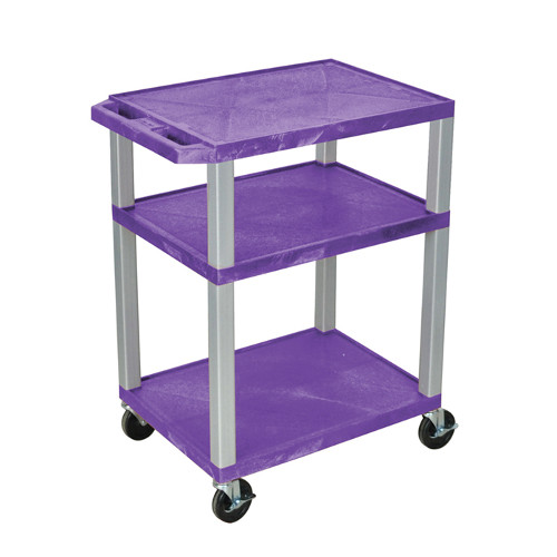 "H. Wilson Purple 34"" High Tuffy Utility A/V Cart (3-Shelf Nickel Legs) (WT34PE-N), Boards Image 1"