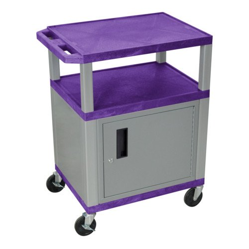 "H. Wilson Purple 34"" High Tuffy Utility A/V Cart with Cabinet (3-Shelf Nickel Legs) (WT34PC4E-N), Boards Image 1"
