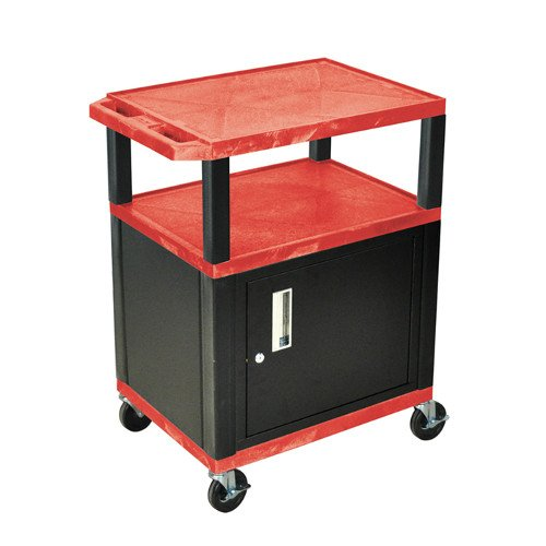"H. Wilson Red 34"" High Tuffy Utility A/V Cart with Cabinet (3-Shelf Black Legs) (WT34RC2E-B), Boards Image 1"