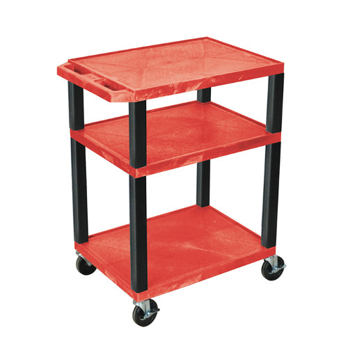 "H. Wilson Red 34"" High Tuffy Utility A/V Cart (3-Shelf Black Legs) (WT34RE-B), Boards Image 1"