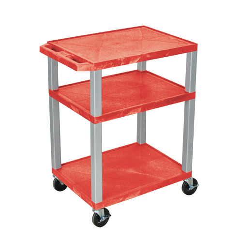 "H. Wilson Red 34"" High Tuffy Utility A/V Cart (3-Shelf Nickel Legs) (WT34RE-N), Boards Image 1"