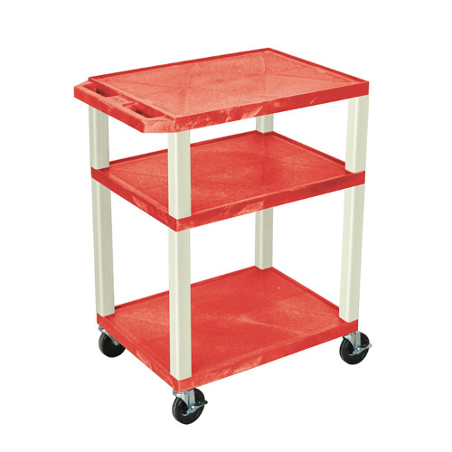 "H. Wilson Red 34"" High Tuffy Utility A/V Cart (3-Shelf Putty Legs) (WT34RE), Boards Image 1"
