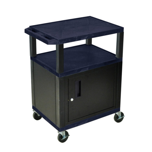 "H. Wilson Navy Blue 34"" High Tuffy Utility A/V Cart with Cabinet (3-Shelf Black Legs) (WT34ZC2E-B) - $204.36 Image 1"
